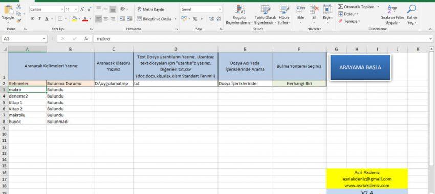 Word, Excel, CSV ve TEXT Dosyalarında Çoklu Arama