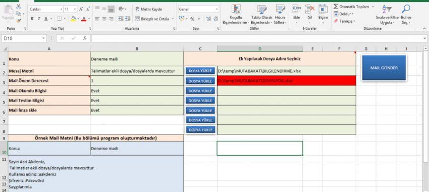 Excel Kişiye Özel Toplu Mail Gönderimi