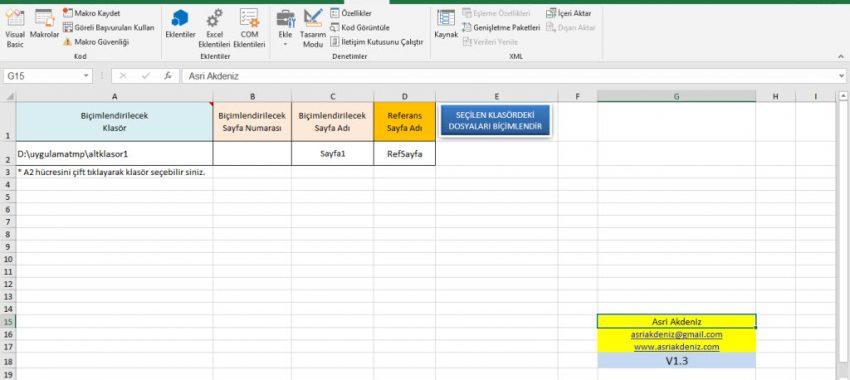 Excel Toplu Dosya Biçimlendirme Programı