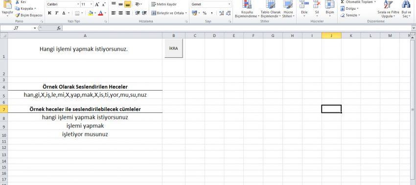 Excel Cümle Okuma Sesli