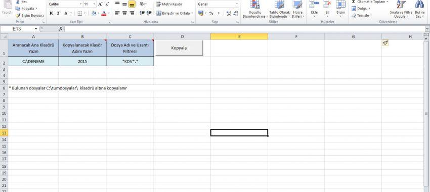 Excel Özel Dosya Kopyalama