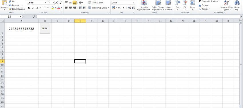 Excel Sayıları Sesli Okuma 13 Hane
