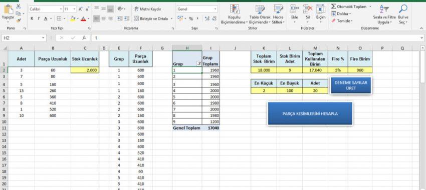 Excel Bir Boyutlu Kesim Optimizasyonu