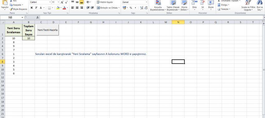 Excel Test Sorularını Karıştırma Programı