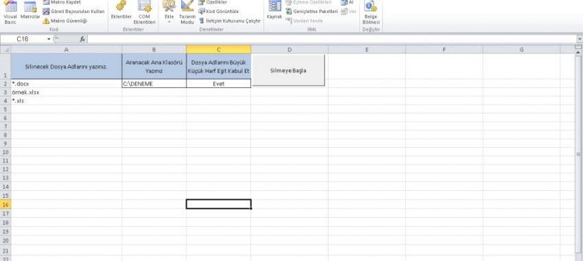 Excel Çoklu Dosya Silme Programı
