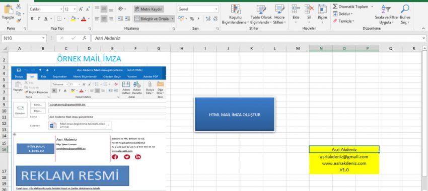 Excel Outlook HTML İmza Oluşturma Programı