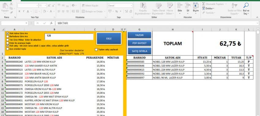 Excel Hızlı Sipariş Fişi Programı