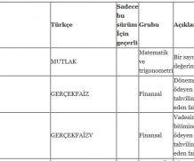 Excel Türkçe İngilizce Güncel Formül Listesi