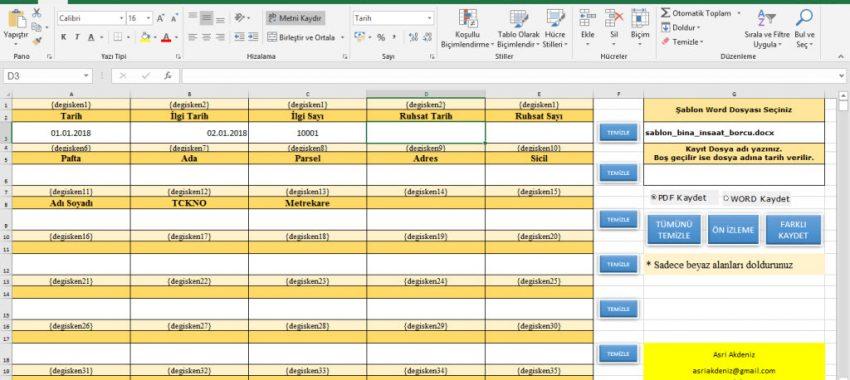 Excel Yazışma ve Matbu Evrak Doldurma Programı