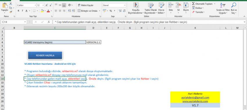Excel to VCARD Rehber Hazırlama Programı