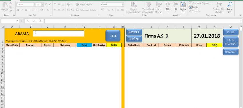 Excel Hızlı Stok Giriş-Çıkış Programı
