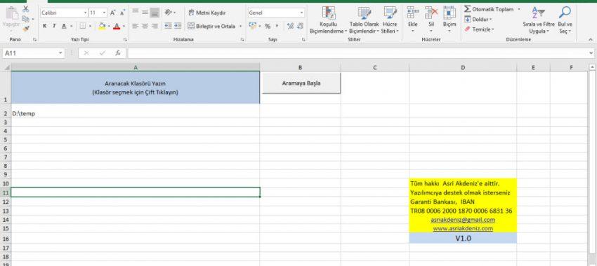 Excel – Dosya Özellikleri Listeleme Programı