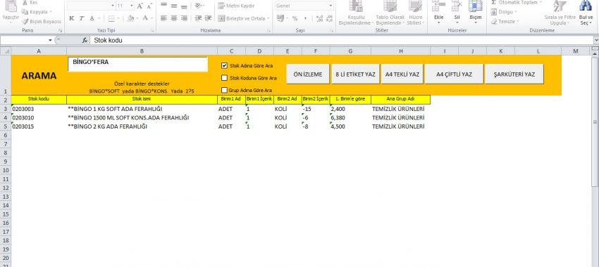 Excel Etiket Yazdırma Programı