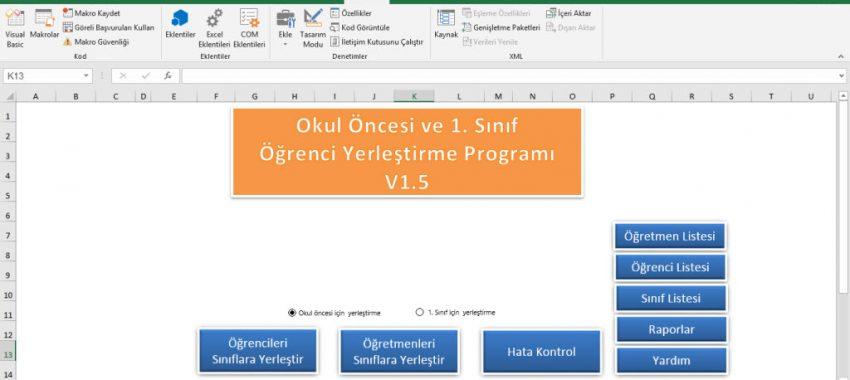Excel Okul Öncesi ve 1.Sınıf Ögrenci Yerleştirme Programı (Kuralı/Kurasız)