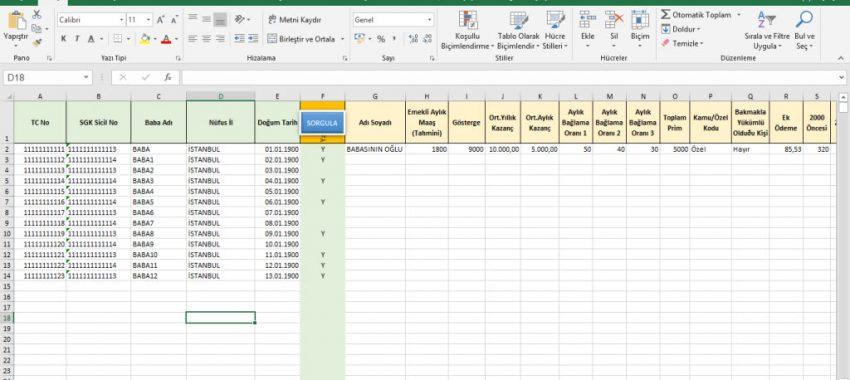 Excel SGK Emekli Maaşı Toplu Sorgulama