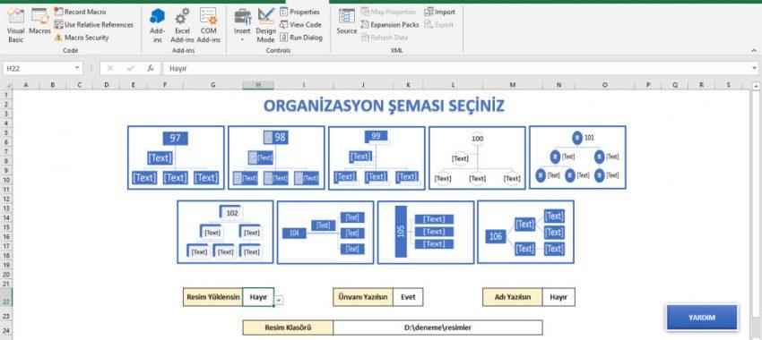 Excel Organizasyon Şeması Programı